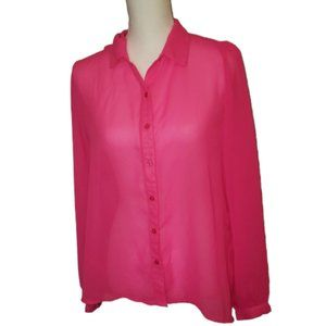 Tops - Charlotte Russe Sheer Hot Pink Cut Out